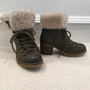 Green leather lace-up heeled booties with faux fur